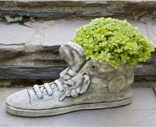Campania International Sneaker Cast Stone Planter eclectic-outdoor-pots-and-planters