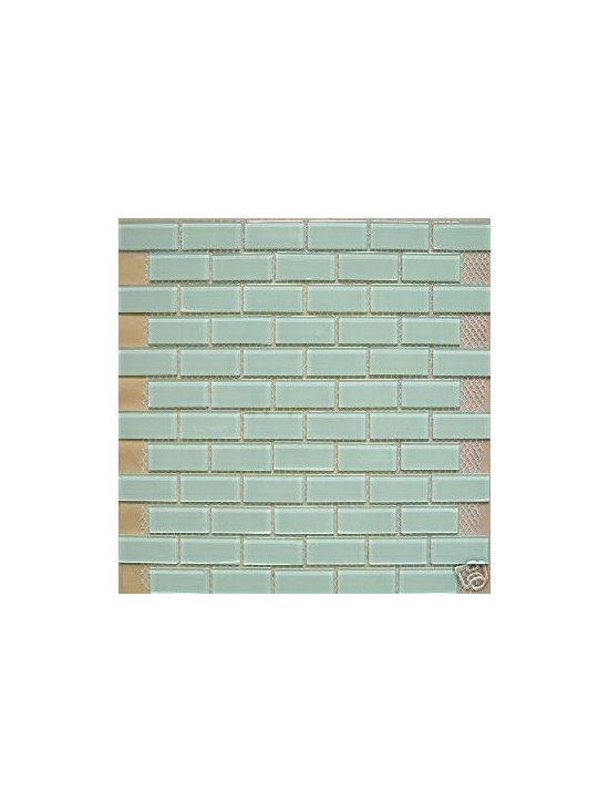 B24 White Lt Green Tint Glass Mosaic Tile - Clear Glass Lt Green Tone Glass Mosaic Tile B24