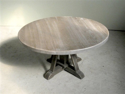 Driftwood Oak Coffee Table With Pedestal Base Farmhouse Coffee Tables Boston By