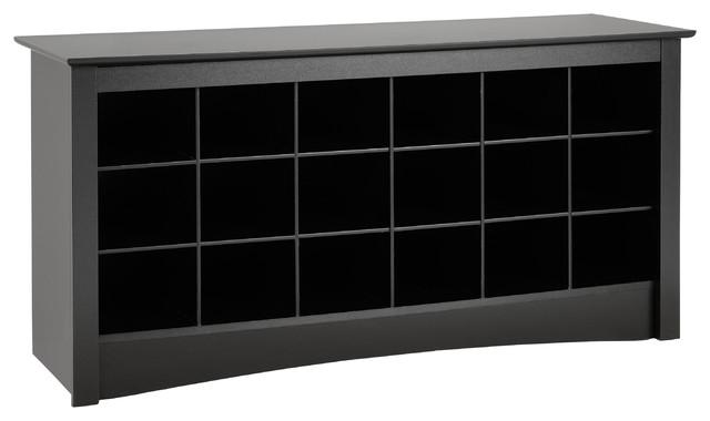 Prepac Sonoma Black Shoe Storage Cubbie Bench traditional-benches