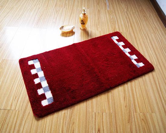 Luxury Rectangle Red Floor Rug Bath Mat -