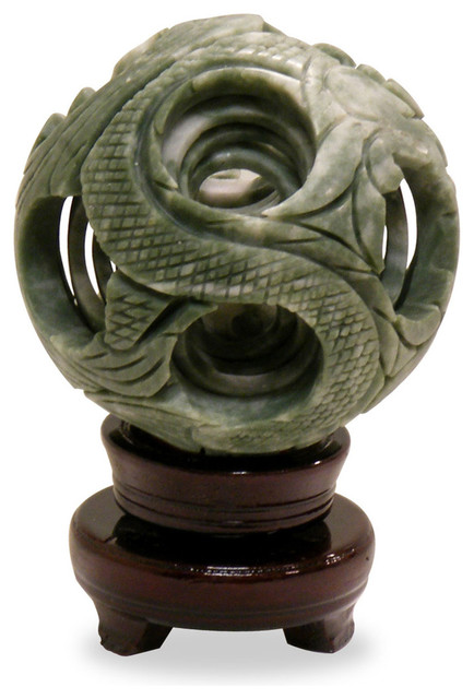 Hand Carved Jade Layered Ball on Stand asian-decorative-accents
