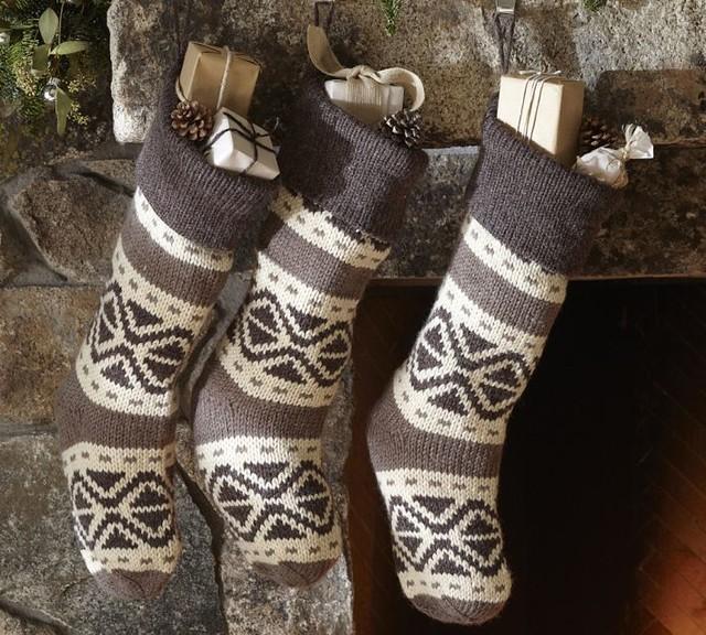 fair isle knit stocking traditional christmas. Black Bedroom Furniture Sets. Home Design Ideas