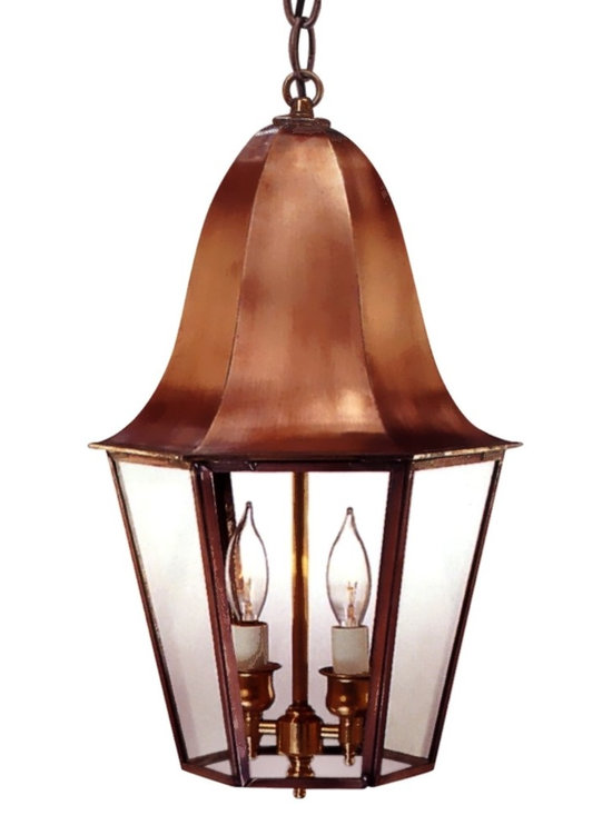 Waylon Pendant Copper Lantern Hanging Light - The Waylon Pendant Copper Lantern Hanging Light, shown here in our burnished Antique Copper finish with clear glass, is made in USA from pure copper or brass and is designed to last for decades. This classic colonial style works well with traditional and colonial style homes.