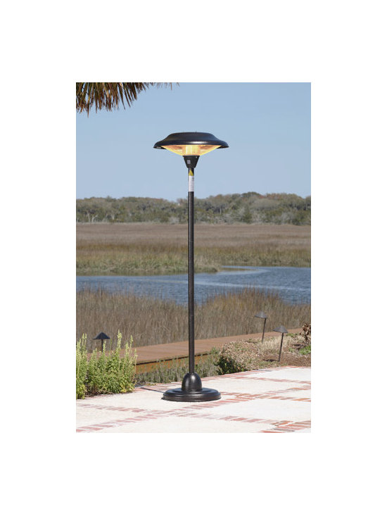 Fire Sense Hammer Tone Bronze Floor Standing Round Halogen Patio Heater - Resembling an indoor standing lamp, the Fire Sense Hammer Tone Bronze Floor Standing Round Halogen Patio Heater is perfect for outdoor use and runs off standard household electricity. -Mantels Direct