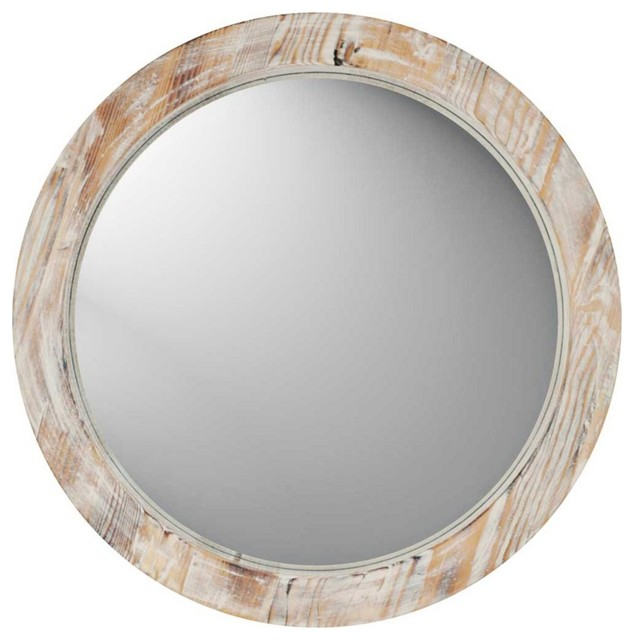 Decorative Wall Mirror Lamps Plus : Coastal round quot washed wood wall mirror contemporary