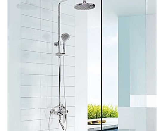 Shower Faucets - Chrome Finish Contemporary Shower Faucet (Hand Shower + Shower Head)--FaucetSuperDeal.com