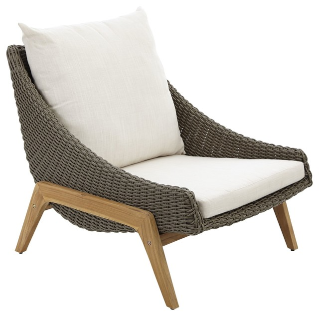 Retro Rattan Effect Coffee Chair Contemporary Outdoor