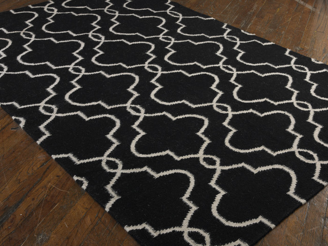 moroccan tile clover wool rug black white contemporary rugs