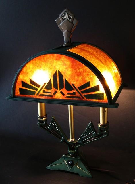 1920s Deco Lamp With Custom Mica Shade Mediterranean
