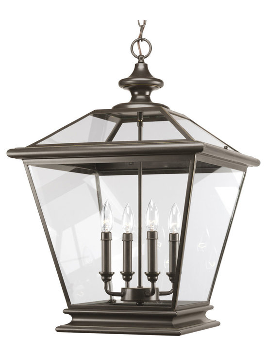 Progress Lighting Crestwood Four-Light Hall & Foyer - Four-light foyer fixture with clear beveled glass panels. The essence of traditional gas lanterns with updated styling. Can be used in outdoor covered settings or porches, as well as in foyers and entryways.