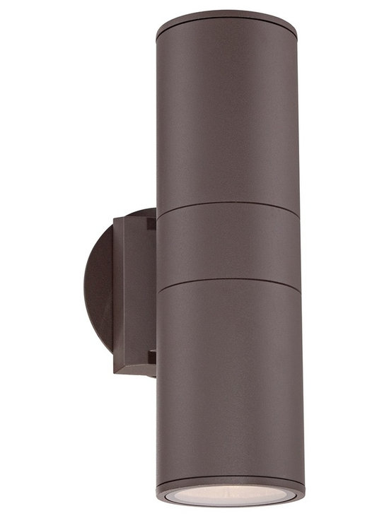 "Possini Euro Design - Possini Euro Ellis Bronze Outdoor Up and Downlight - Add this warm bronze finish outdoor wall light to your porch or other outside wall. The cylinder shape aluminum body in bronze will stand out against your wall. This downlight style fixture sends beautiful illumination out from the bottom of the design. Cylinder style outdoor downlight. Bronze finish. Aluminum construction body. Tempered glass lens.  Two max 60 watt medium base bulbs (not included).  Cylinder style outdoor downlight.  Bronze finish.  Aluminum construction body.  Tempered glass lens.   Two max 60 watt medium base bulbs (not included).  11 3/4"" high.  3 3/4"" wide.  Extends 6"" from the wall."