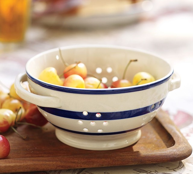 Ceramic Stripe Colander traditional-colanders-and-strainers