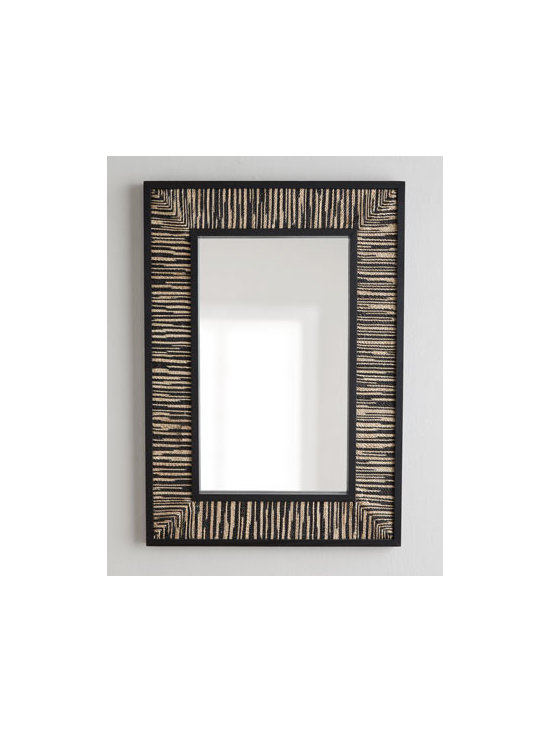 Horchow - Black Weave Mirror - Exclusively ours. With its distinctive woven frame, this mirror introduces an organic vibe as it adds the illusion of space and light to any room. Handcrafted of wood and wood composite, eco-friendly natural abaca, and mirrored glass. Lacquer finish. Use indoors or outdoors in a covered area.