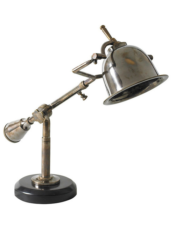 "Inviting Home - French Style Desk Lamp - 1920s French style adjustable solid brass desk lamp; 7-1/8"" x 22-5/8"" x 16-1/8""H; The many subtle details of this classic 1920s French lamp easily impress. Yet in construction of this desk lamp nothing was done easily. Every facet is well executed and perfect. An intriguing solid counterweight balances the compact bell-like shade. A mix of Bauhaus and French Deco! Easily invokes the spirit of Baudelaire and Proust�"