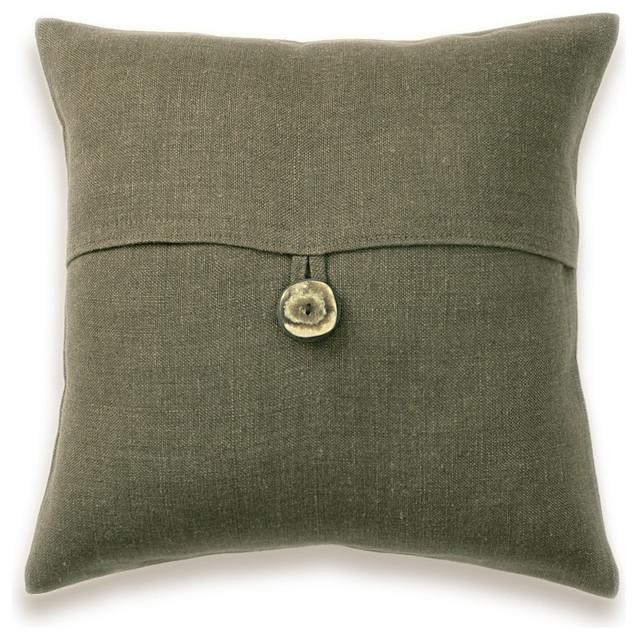 dark olive green linen lumbar pillow cover 16 inch faux horn button drea design. Black Bedroom Furniture Sets. Home Design Ideas