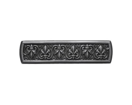 """Inviting Home - Fleur-de-Lis Pull (antique pewter) - Hand-cast Fleur-de-Lis Pull in antique pewter finish; 3-7/8""""W x 1""""H; Product Specification: Made in the USA. Fine-art foundry hand-pours and hand finished hardware knobs and pulls using Old World methods. Lifetime guaranteed against flaws in craftsmanship. Exceptional clarity of details and depth of relief. All knobs and pulls are hand cast from solid fine pewter or solid bronze. The term antique refers to special methods of treating metal so there is contrast between relief and recessed areas. Knobs and Pulls are lacquered to protect the finish. Detailed Description: The Fleur-de-lis means """"flower of the lily"""" It was used to represent French royalty. It was said that the king of France Clovis who started using the symbol of the Fleur-de-lis because the water lilies helped guide him to safety and aided him in winning a battle. The design in the Fleur-de-Lis pulls is arranged in alternating positions of the Fleur-de-lis. These pulls are a great match for the Fleur-de-lis knobs which have the Fleur-de-lis pattern arranged in a circle. The different shapes of decorative hardware make the cabinet doors and drawers interesting to look at."""