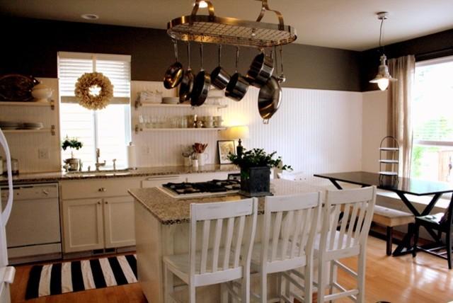 kitchen: shelving, pan hanger thing contemporary-kitchen