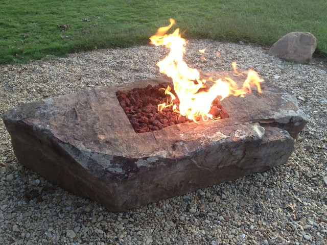Natural Stone Firepit Boulders Traditional Fire Pits