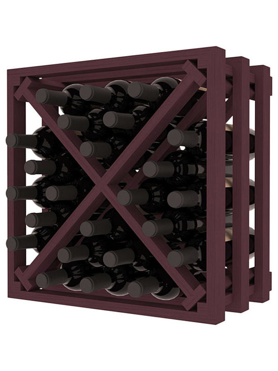 Lattice Stacking X Wine Cube in Pine with Burgundy Stain - Designed to stack one on top of the other for space-saving wine storage our stacking cubes are ideal for an expanding collection. Use as a stand alone rack in your kitchen or living space or pair with the 16-Bottle Cubicle Wine Rack and/or the Stemware Rack Cube for flexible storage.