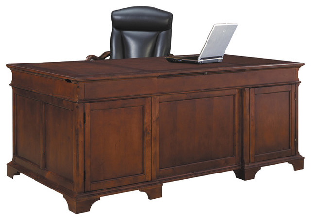 home office weathered cherry executive desk modern desks and