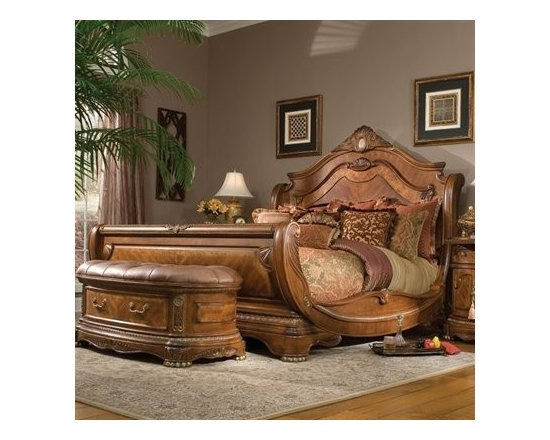 AICO Furniture - Cortina Sleigh Bed in Honey Walnut - 65011/65016/65018 - Sleigh Bed made of Birch solids with Cherry and Mapa Burl veneers
