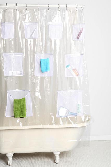 Mesh Pocket Shower Curtain