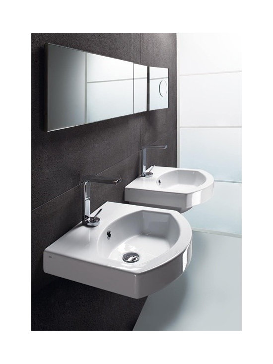 "GSI - Stylish Curved Wall Mounted, Vessel, or Self Rimming Bathroom Sink by GSI - Contemporary wall mounted, above counter vessel, or self rimming white ceramic bathroom sink. This sink has a rectangular shape with a curved front and includes overflow. It comes with the option of a single faucet hole (as shown), no holes, or 3 holes. Made in Italy by GSI. Sink dimensions: 19.70"" (width), 6.30"" (height), 17.70"" (depth)"