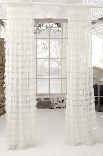 Couture Dreams Chichi White Petal Panel curtains
