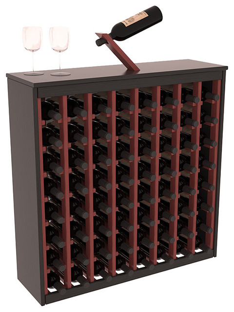 64 Bottle Deluxe Wine Rack, Pine, Black and Cherry Stain - Contemporary - Wine Racks - by Wine ...
