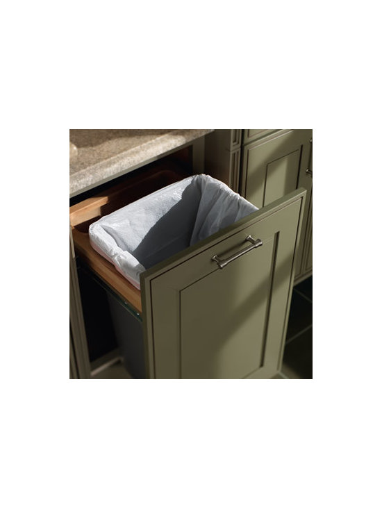 Desk Wastebasket - Conceal your wastebasket clutter with this sturdy, easy open and close, vanity-sized solution.