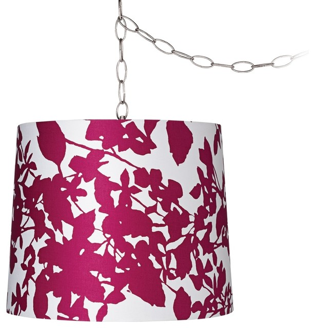 "Contemporary Plum Floral Silhouette 13 1/2"" Brushed Steel Swag Chandelier contemporary-chandeliers"