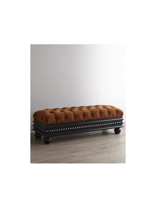 "Massoud - Massoud 38""L Tufted Storage Bench - Elegant seating and hidden storage—what more could you want? With deep diamond tufting, twisted-rope trim, and reeded feet, this magnificent bench exudes regal charm. Hardwood frame. Polyester upholstery. Suspended coil-spring system and mortis..."