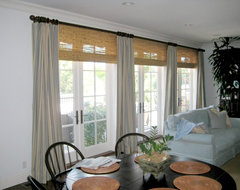 Contemporary Linen Drapes with Bamboo Shades contemporary curtains