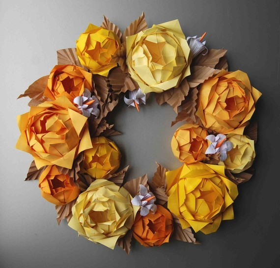 Yellow Rose Origami Paper Wreath by Lusine on Etsy wreaths-and-garlands