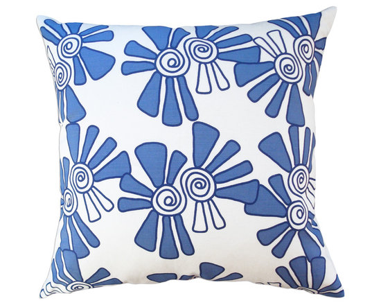 Balanced Design - Hand Printed Linen/Cotton Pillow - Alex, Cobalt, 22 x 22 - -Graphic, modern patterns -Hand printed in a historic Rhode Island textile mill on 10oz. canvas -Eco-friendly inserts (50% regenerated fiber made from recycled plastic bottles, 50% 95/5 feather)  -Zipper closure  -Wash in cold water, line dry.  -Sewn in Massachusetts  -Imported Fabric