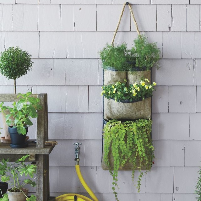 Hanging Bag Planter Contemporary Outdoor Pots And