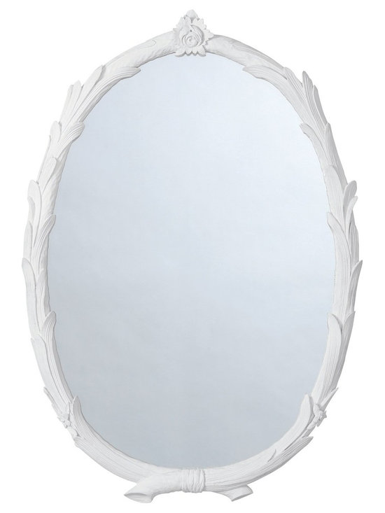 Arteriors Laurel Mirror - Overlapping laurel branches intersect gracefully to form the frame of this white plaster finish oval mirror.  http://www.plumgoose.com/arteriors-laurel-mirror-457.html