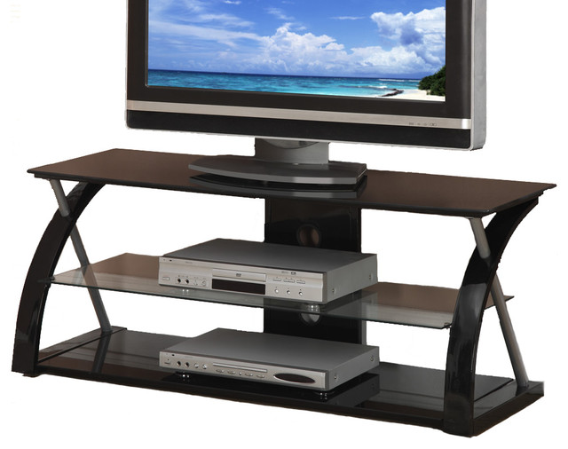 Black Glass Metal Dynamic Entertainment Center Tv Stand