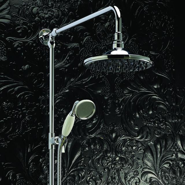 Chrome Traditional Rigid Riser,Overhead Shower Head & Handheld Sprayer contemporary-showerheads ...