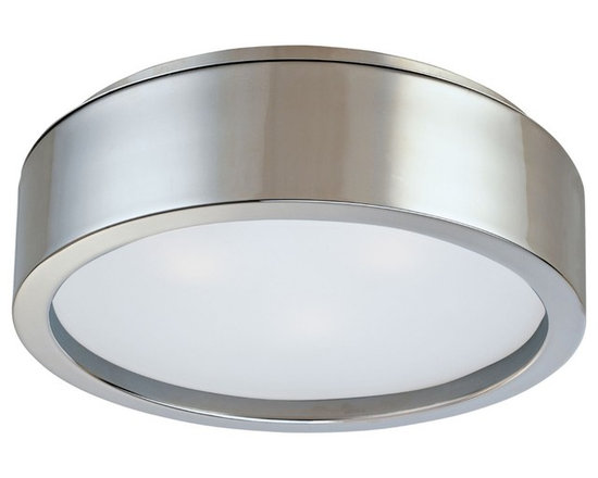 """Sonneman - Sonneman Puck 15"""" Surface Ceiling Light Fixture - The Puck was designed by Sonneman to bring a minimalist to the traditional ceiling light. The metallic finish is a wonderful contrasting element to the crisp white shade. From the Robert Sonneman lighting collection. Satin nickel finish. White etched glass. Takes three 60 watt medium based bulbs (not included). 4 1/2"""" high. Diameter is 15"""". Shade has 13 1/2"""" diameter. Canopy has 14"""" diameter.  Satin nickel finish.   White etched glass.  Round ceiling light shape.  A Robert Sonneman lighting design.  Takes three 60 watt medium based bulbs (not included).  4 1/2"""" high.  Diameter is 15"""".  Shade has 13 1/2"""" diameter.  Canopy has 14"""" diameter."""
