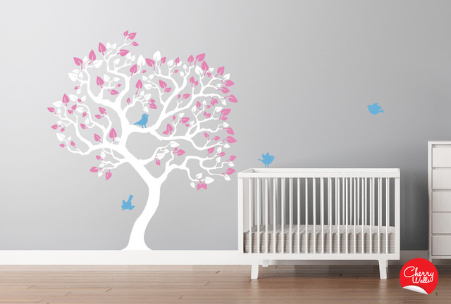 Baby girl 39 s nursery tree decal modern nursery decor seattle by cherry walls - Wall decor girl nursery ...