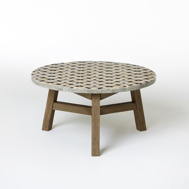 Industrial Grey Driftwood Open Coffee Table: Mosaic Tiled Coffee Table, Gray Zigzag And Driftwood Base