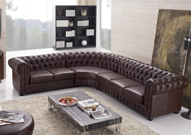 Aberdeen Tufted Leather Sectional Modern