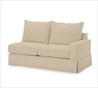 PB Comfort Square Right Love Seat, Knife-Edge, Down-Blend Cushions, Twill Camel traditional-chairs
