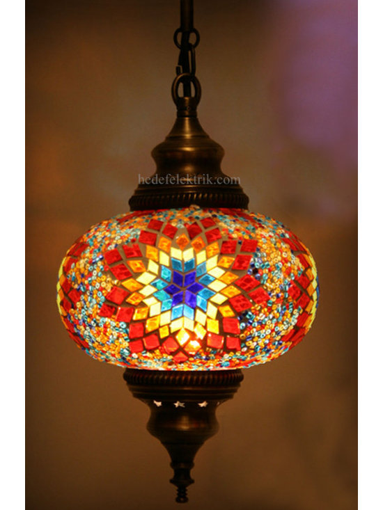 Turkish Style Mosaic Pendant Lamp 17 cm - Mosaic lamps are made of original colour of glasses. When the lamp is lit, the glasses cause colorful shades, which can suddenly change the ambiance of a room by its inspiring view. Noe of the glasses are painted nor applied a transaction. Each parts of the lamp are handmade.