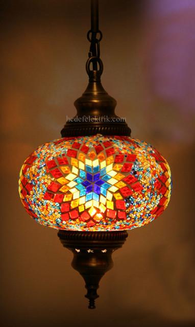 Turkish Style Mosaic Pendant Lamp 17 Cm Mediterranean