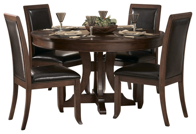 54 Inch Round Pedestal Dining Table In Cherry Traditional Dining
