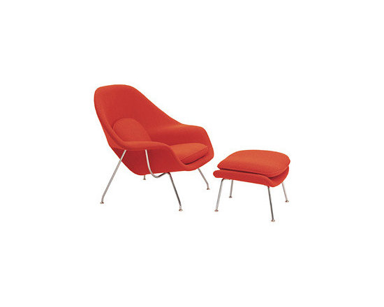Furniture and Materials - The Womb Chair and Ottoman (1946) has an enveloping form that continues to be one of the most iconic and recognized representations of mid-century organic modernism.