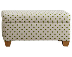 Contemporary Cari Green Polka Dot Storage Bench contemporary ottomans and cubes